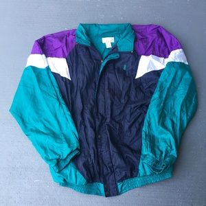 Teal green and lavender purple Windbreaker Jacket